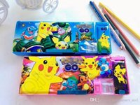 Wholesale Poke Pikachu Pencil Cases Cartoon School Stationery Cosmetic Pencil Pen Case Anime figures Gifts For Kid OOA571