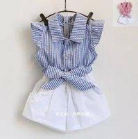 Cheap Children 2pcs outfit Best girls stripe fly sleeve shirt shorts