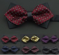 Wholesale Lomefo Mens Bowties wedding ties men s bow ties bridegroom sharp corner bow tie many color high quality