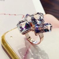 Wholesale Colorful Crystal Cube Open Ring Korea Japan And South Korea Europe And The United States Jewelry Influx Of People Pearl Joint Ring Woman