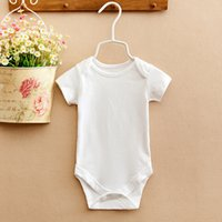 Wholesale Baby Rompers Suit Summer Infant Triangle Romper Onesies cotton Short sleeved babies clothes boy girl pure white full sizes