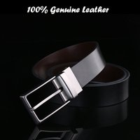Wholesale 2016 Fashion man real leather belt with rotatable pin buckle genuine leather business belt men both sides weared casual belts