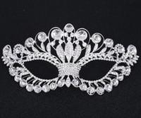 Wholesale Crystal Mask Silver Tone Venetian Bridal Masquerade Rhinestone Crystal Eye Mask Halloween Fancy Dress Ball Party Mask FJ21