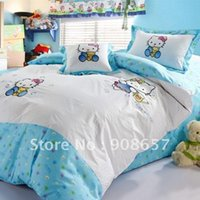 Wholesale new blue floral blue hello kitty bedding sets cotton quilt duvet covers sets pc for kids girls single twin comforter bed sheets