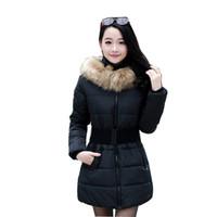 belted puffer coat - 2016 women winter fashion coat paragraph Slim Korean Girls padded belt fur collar parka quilted jacket puffer jacket