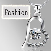 Wholesale 2016 New Arrival High Quality Silver Pendant Necklace Sweet Jewelry For Women Chirstmas Gift Silver Heart and Love Necklace
