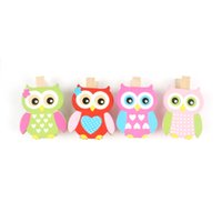 Wholesale home decoration wood owl crafts decor mm pattern cute buttons