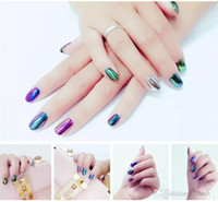 Wholesale 2g the Colorful Nail Glitter Powder Shinning Mirror Effect Nail Makeup Powder Dust Nail Art DIY Chrome Pigment Glitters With Two Brushes