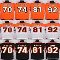 baseball sims - Mens Jersey Pat Sims Tyler Kroft Jake Fisher Cedric Ogbuehi Orange Black white Elite Jerseys