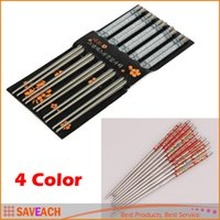 Wholesale New Arrival High Quality Pair Set Elegant Flower Print Stainless Steel Chopsticks For Home Restaurant