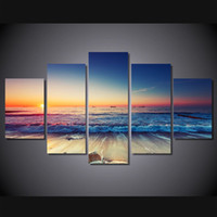 beach landscape photos - 5 Set No Framed HD Printed Sunset beach landscape Painting Canvas Print room decor print poster picture canvas oil painting from photo