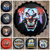 Wholesale 40cm Retro Tin Sign Wall Poster Round Beer Bottle Cap Iron Painting Bar Club Decorative Plates