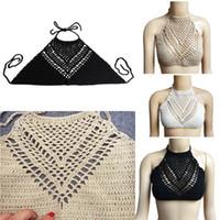 Atacado-Mulheres Halter Verão malha Camis Crochet Beach Bikini Boho Bra Bralette
