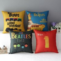 Wholesale 45cm The Beatles Yellow Submarine Cotton Linen Fabric Throw Pillow inch Handmade New Home Office Bedroom Decoration Sofa Back Cushion