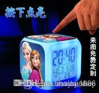 alarm colock - New LED Colors clock ROZEN COLOCK Change Digital Alarm Clock Frozen Anna and Elsa Thermometer Night Colorful Glowing Clock Christmas gift