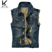 Wholesale Fall Jean Jacket Mens Denim Vest Plus Size XL XL Jeans Waistcoat Men Cowboy Brand Sleeveless Jacket Male Tank Top F1362