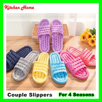 Wholesale Anti sliding Lovers Couple Bathroom Slippers with high elasticity Anti slip Slippers Lady Man Home Plastic Casual Indoor Floor Woman Shoes