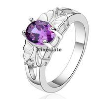 beautiful wild - Luxury elegant amethyst Silver Rings Jewelry Crystal Beautiful flowers ring women lady cute nice beat wild R550