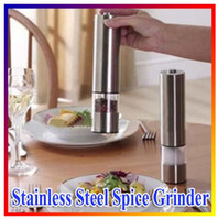 Wholesale Brand New Hign Quality Portable and Durable Electric Stainless Steel Kitchen Tool Salt Pepper Mill Grinder Muller With Light