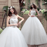 Wholesale Top Online Romantic Hand Made Mermaid Sleeveless Strapless Lace Halter Dress Plus Size Floor Length Wedding Dress