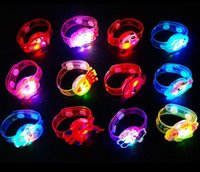 Plastic Bracelet  2016 cartoon Flash LED lighting children kids bracelet wrist band cartoon hand ring luminous wristband Christmas kids gift