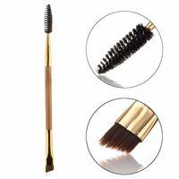 bamboo cutting tools - 1Pc Bamboo Handle Cosmetic Tool Eyebrow Brush Eyeliner Angled Cut Eyebrow Comb Dual Head Makeup Brush