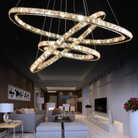 Wholesale LED Rings K9 Crystal Pendant Lights Stainless Steel round Chandeliers v amber Pendant Lights lamp