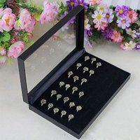 Wholesale Fancy Jewelry Box Rings Showcase Display Case Box Storage Holder Organiser Color Black RING