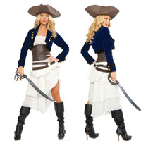 adult cowboy hat - New Adult Womens Sexy Halloween Party Pirate Costumes Outfit Fancy West Cowboy Cosplay Dresses With Hat