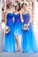 Wholesale 2016 Beach Bridesmaid Dresses Sweetheart Criss Cross Pleats A Line Knee Length or Floor Length Gradient Ombre Chiffon Blue to White Cheap