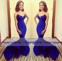 Wholesale 2016 Grammy Awards Royal Blue Celebrity Dresses Sexy Prom dresses Custom Mermaid Formal Dresses V Neck Front Split Dresses For Party Custom