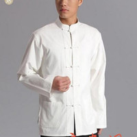 Wholesale New Arrival High Quality Hot New Chinese Fu Long Sleeve Cotton Style Mens Kung Casual Shirt Tai Chi Tops White Free Ship