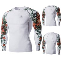 Wholesale New Men S Riding Clothes Tight Fast Drying Waterproof Clothing Fitness Boxing Training Clothing Rose Pattern