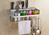 aluminium cooking utensils - 1PC Space Aluminium Kitchen Shelf kitchen rack Cooking Utensil Tools Hook Rack kitchen Holder amp Storage cm kitchen aid J2002