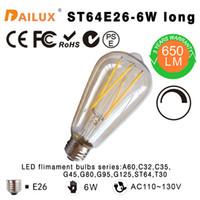LED Filament vintage Edison bombilla ST64 - Dimmable largo Ambar 6W-60W incandescente Equivalente E26 3 años de garantía