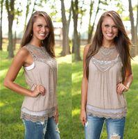 Wholesale Plus Size Women Summer Vest Tops Sexy Lace Crochet Tank Tops Ladies Sleeveless Hollow Out Blouse Vest Casual Floral Vest