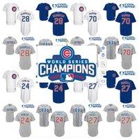 al por mayor addison russell-Campeón de la Serie Mundial 2016 remiendo Hombre Chicago Cubs Jerseys 28 Hendricks 24 Dexter Fowler 70 Joe Maddon 27 Jersey de béisbol de Addison Russell