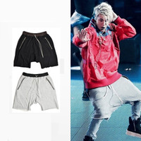 Wholesale High Quality Justin Bieber Hip Hop Summer Shorts Fear of God Loose Cross Kanye West Summer Shorts With Fake Zippers