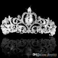 Cheap Wedding Bridal Princess Austrian Crystal Prom Hair Tiara Crown Veil Headband Silver Wedding 1PDG