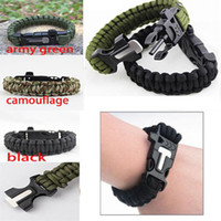 Wholesale Survival Bracelet Whistle Buckles - Outdoor Survival Bracelets Flint Fire Starter Paracord Whistle Gear Buckle Camping Ignition Equipment Resure Rope Escape Bracelet