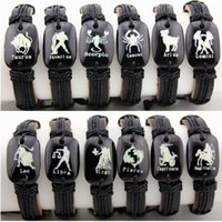 Wholesale Hot Sale Hand woven Unisex Zodiac Amulet Constellations Leather Bracelets Bangle Lucky GIFT MB05