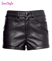 Wholesale Black faux leather shorts for womens high waisted pu shorts for ladies fashion roll up sexy shorts femme summer plus size skinny hot pants
