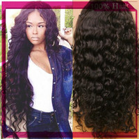Wholesale Soft unprocessed peruvian virgin hair loose curly silk top lace front wig silk top full lace wigs