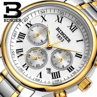 authentic swiss watches - Authentic Hot Swiss BINGER Brand Men automatic mechanical full steel leather strap fashion casual male watch