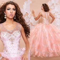 Wholesale 2016 Peach Pink Ball Gown Quinceanera Dresses Scoop Neck Illusion Crystal Beads Tiered Sexy Prom Party Sweet Evening Party Gowns BA0813