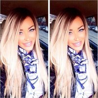Cheap 1B 613 Blonde Brazilian Ombre Lace Front Human Hair Wigs Silky Straight Black and Blonde Two Tone Glueless Full Lace Wigs Bleached Knots