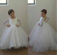 Wholesale Arabic Lace Flower Girl Dresses Long Sleeves Ball Gown Child Pageant Dresses Holy Communion Flower Girl Wedding Dresses