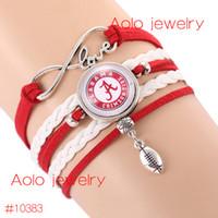 alabama football team - 6Pcs NCAAF Alabama Crimson Tide Glass Cabochons Bracelet College Football Team Bracelet New Infinity Bracelet Drop Shipping