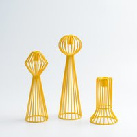 Wholesale Creative Shape Unique Design Candle Holder Metal Modern Macaroon Yellow Candle Stand For Living Room Party Home Decoration