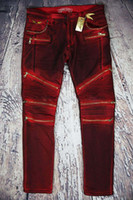 big rip - New true brand designer Mens balmain Biker Jeans Brand Design Wash Ripped jeans Shinny jean Male Denim Pants Big Size